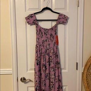 Lavender smocked high low boho dress.